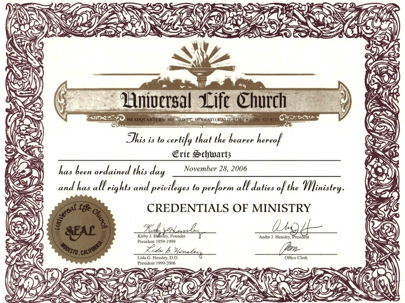 Faqs officiant eric for How do i get ordained to perform wedding ceremonies